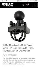 Ram Double U Bolt Base With 1.5 Ball For Rails From .75� To 1.25� In Diameter