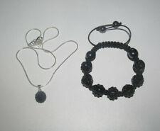 Lot Style Shamballa Bracelet + Collier Pendentif Noir NEUF