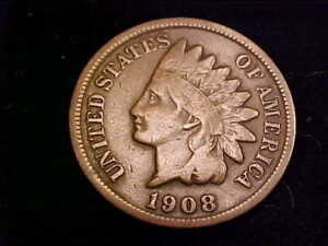 1908-S Indian Head Cent, Very Good grade