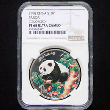 1998 panda 1oz silver coin colorized S10Y NGC PF68 Ultra Cameo