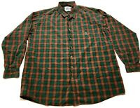 Cinch Mens Red Green Plaid Front Pocket Button Front Shirt Size 2XL