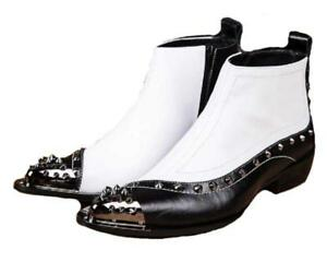 White Studded Leather Steel Toe Zip Dress Ankle Boots Mens Shoes Rivet Chic SH