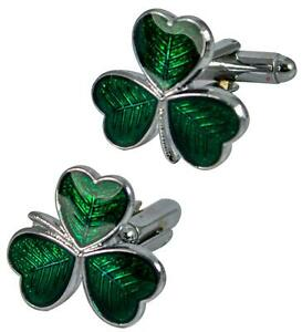 Mens Cufflinks Irish Shamrock 3 Leaf Clover, Irish, Enamel Green Formal Wear