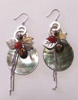 Handmade Shell and Semiprecious Stone Earrings With Chain Dangle