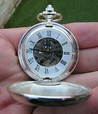 Pocket Watch -Gwo/Vgc -Missing Front Cover Modern Skeletal H/W Full Hunter Small