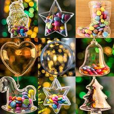 x65 Piezas Transparente Rellenable Adornos Para Árbol De Navidad Juego Estrellas