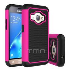 Samsung Galaxy J1 2016 Rugged Rubber Dual Layer Impact Hybrid Hard Case - Pink