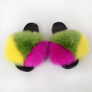 Women Fur Slippers Slides Open Toe Real Whole Fox Fur Slippers House Slides