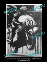 8x6 HISTORIC PHOTO OF AUSTRALIAN MOTORCYCLE GREAT KEL CURRUTHERS BENELLI 1970