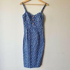 Joe Browns Womens Size 8 Blue Nautical Anchor Pencil Midi Dress Smart Casual