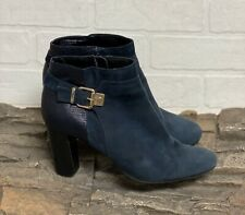 Alfani Step N Flex Dadine Blue Suede Leather High Heel Ankle Boots Booties 9.5