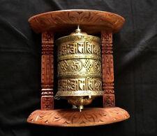 Golden Tibetan Buddhist Brass Copper PRAYER WHEEL Wall Hanging Wooden Frame