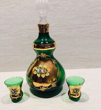 vintage Green Glass Bottle With Gold Flowers, Made In Italy