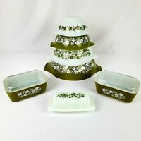 4 Vintage Pyrex Spring Blossom Green/Crazy Daisy Mixing Bowls Nesting Set