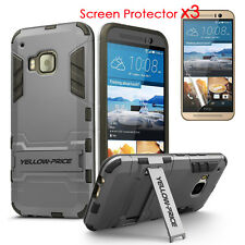 For HTC One M9 Dual Layer Extreme Protection KickStand Armor Case + Glass Films