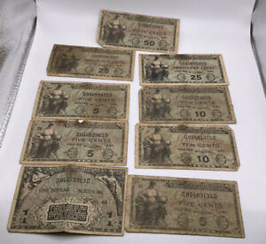 Military Payment Certificate 481 lot of 9 $1, 5,10,25 & 50 cent