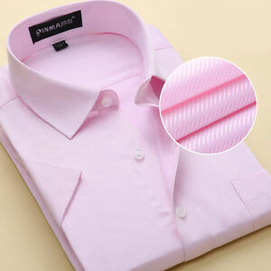 Mens Dress Shirts Business Luxury Short Sleeves Formal Button Down Casual Shirts