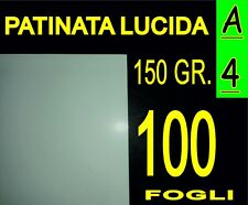 100 FOGLI Carta150gr fotografica PATINATA lucida x stampante laser A4 21X29,7CM