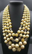 Vintage Yellow Necklace 1950's 1960's Signed Japan