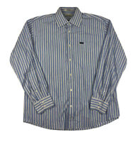 Faconnable Blue Striped Long Sleeve Button Front Mens Large