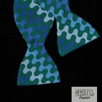 Vintage TURNBULL & ASSER Bow Tie Fern Green Cobalt Sky Navy Wavy Stripe Silk UK