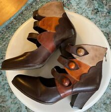 L'Artiste Ankle Boots Spring Step Leather MultiColor Zip Heels Sz 39 Autumn