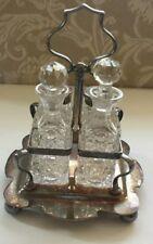 Vintage cut Crystal BPNS Silver Plate Salt Pepper Oil Vinegar Caddy Condiment