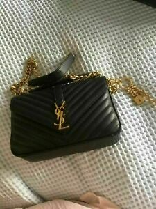 Authentic YSL Chain Medium Bag Leather Gold Hardware