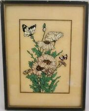 Vintage Poppies & Daisies Reverse Glass Painting Reliance Butterfly Wing Effect