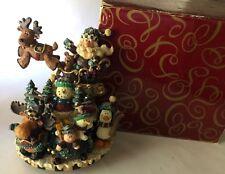 San Francisco Music Box Company Christmas Santa Sleigh Reindeer Moose Snowman