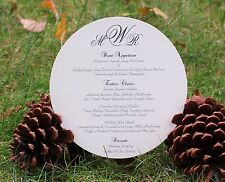 Wedding or Party Menu Card on Metallic Card Stock - Elegant Initials