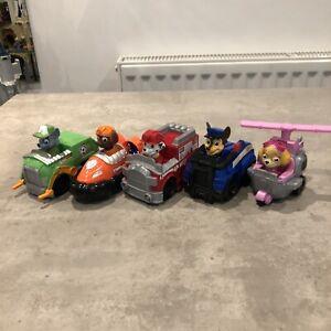 Paw Patrol Mini Racers Mini Vehicles x5 Bundle , Rocky Zuma Skye Chase Marshall