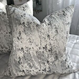 """Cushion Cover 20"""" Mellow Marble Effect Grey Silver Black Textured Fabric  LUXURY"""