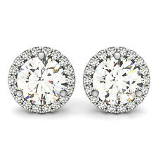 3.30 CT FOREVER ONE GHI MOISSANITE ROUND LADIES MICRO PAVE HALO STUD EARRINGS