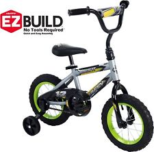 """Little Boys Bmx Bike 12"""" Bicycle 1 Speed Huffy Silver Green No Tool Assembly"""