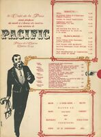 Vintage PACIFIC Restaurant Menu Cafe de la Paix Paris France 1968