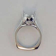 Semi Mount Ring Mounting For 2Ct 14K White Gold With Heart Design Euro Shank
