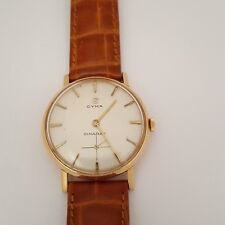 Vintage Large Cyma Solid 18k Gold Fully Serviced Mens Watch