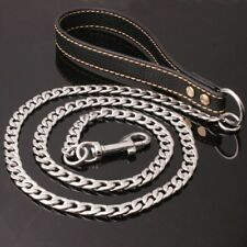 """Silver Stainless Steel Chain Dog Pet Leash Black Leather Strong Holding 11mm51"""""""