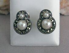 JUDITH JACK Sterling Silver Pearl & Marcasite Omega Back Earrings;L127
