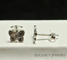 .925 Sterling Silver 7mm BUTTERFLY Insect Summer Post Stud Earrings