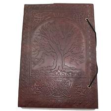 Lederbuch XL Kladde Notizbuch Tagebuch Buch Tree Of Life Leder Indien 26 x 19cm