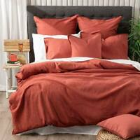 Renee Taylor Stone Washed French Linen Paprika Duvet Doona Quilt Cover Set
