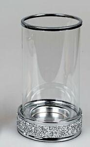 Windlicht, Kerzenhalter BRILLIANT mit Strass H. 22cm Glas + Metall Formano