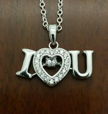 925 Sterling silver micropave cz I love you pendant necklace
