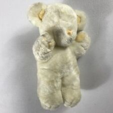 "GUND Plush Rattle Bear VTG 1979 Stuffed Animal 9"" Teddy White Yellow 70s No Eyes"