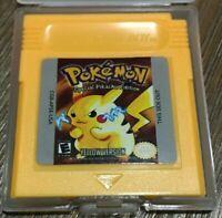 REPRODUCTION Pokemon Yellow Version Cart for Nintendo Game Boy Color W/Cart Case