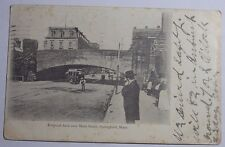 1907 Photo Postcard Of Railroad Arch Over Main Street Springfield Massachusetts