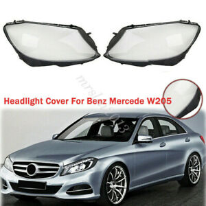 1 Pair Headlight Lens Lampshade For Benz W205 C180 C200 C260L/280/300 2014-2017