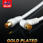 Right Angle Plug White TV Antenna Cable Flylead Cord Coax Lead PAL Male